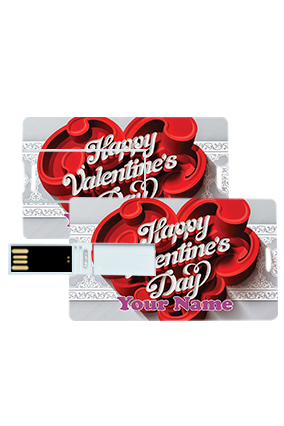Designer Heart Valentine's Day Credit Card Pen Drives