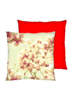 Autum Background Polyester Square Red Cushion