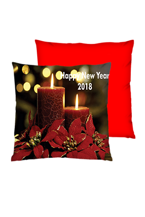 Candle Night Polyester Square Red Cushion