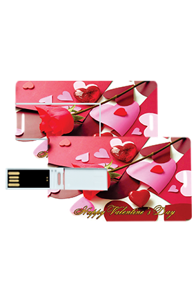 Lovely Heart Valentine's Day Credit Card Pen Drives