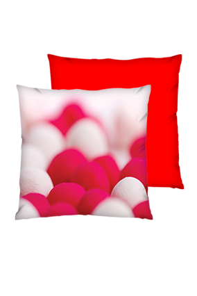 Woolen Balls with Blured Background Polyester Square Red Cushion