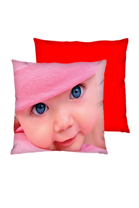 Cute Baby Face Polyester Square Red Cushion