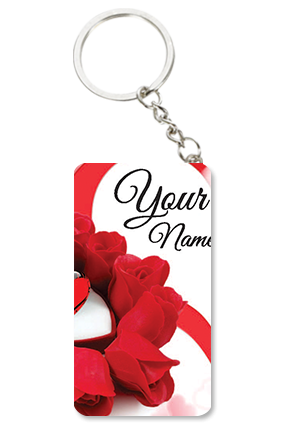 Beautiful Roses Themed Valentine's Day Small Rectangle Key Chain