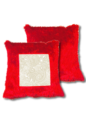 Golden Paisley Pattern Fur Square Red Cushion