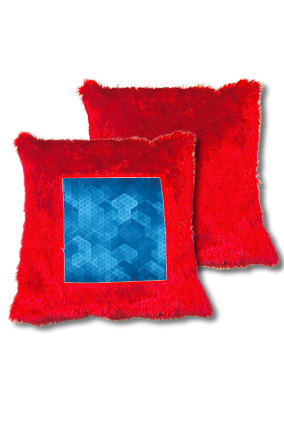 Blue Abstract Pattern Fur Square Red Cushion