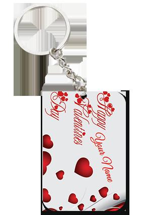 Beautiful Hearts Square Keychain Valentine's Day Big Rectangle Keychain