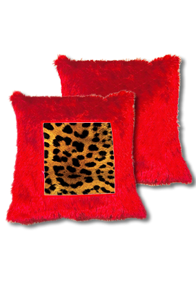 Lion Golden Fur Square Red Cushion