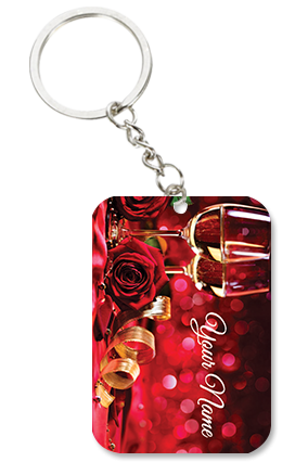 Champaign And Heart Square Keychain Valentine's Day Big Rectangle Keychain