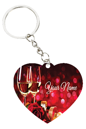 Champaign Themed Valentine's Day Heart Keychain