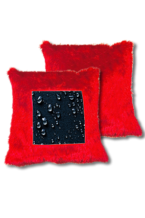 Dark Water Drop Fur Square Red Cushion