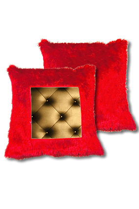Goldish-Bronze Color Pillow Sheet Fur Square Red Cushion