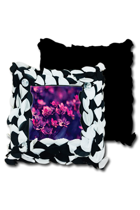 Florwer Background Polyester Square Black & White Petal Cushion