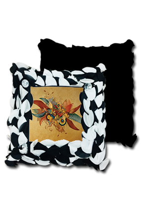Fantasy Pattern Polyester Square Black & White Petal Cushion