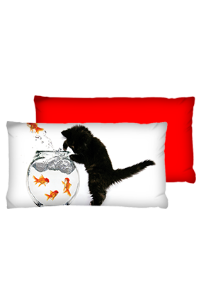 Cat is Fish Pot Velvet Rectangular Red Cushion