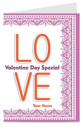 Customized Love Printed Valentine's Day Greeting Cards