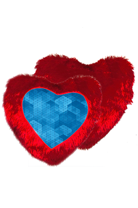 Blue Abstract Pattern Fur Heart Shape Red Cushion