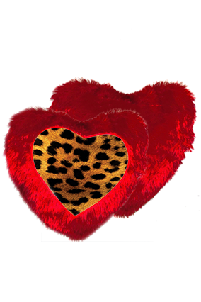 Lion Golden Fur Heart Shape Red Cushion