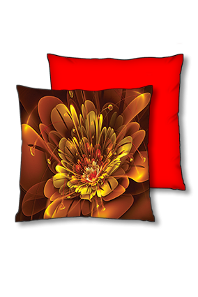 Golden Flower Polyester Square Red With Black Piping Cushion