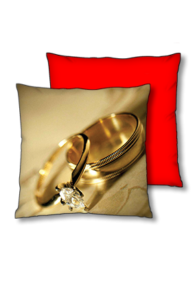 Couple Ring Background Polyester Square Red With Black Piping Cushion