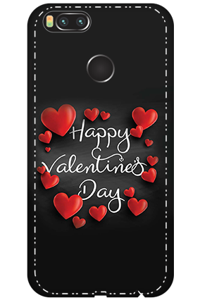 3D - Xiaomi Mi A1 Darkish Black Red Heart Mobile Covers