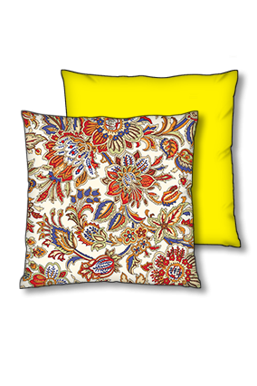 Floral Background Polyester Square Yellow With Black Piping Cushion