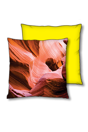 Mountain Rock Evening Scene Polyester Square Yellow With Black Piping Cushion