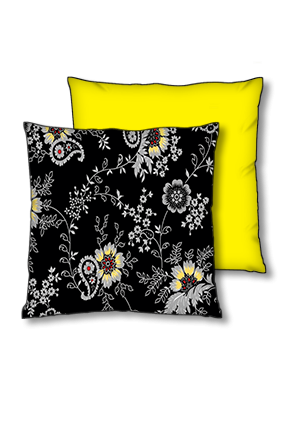 Black Floral Background Polyester Square Yellow With Black Piping Cushion