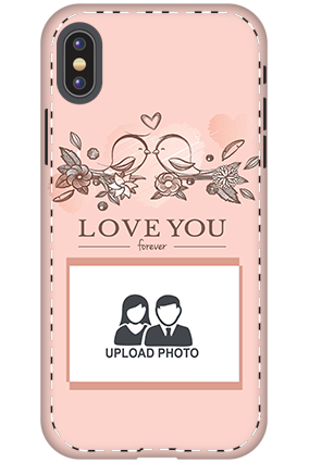 3D - Apple iPhone X Peach love birds mobile covers