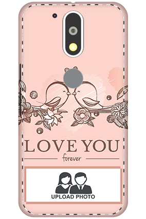 Customize 3D-Motorola Moto G4 Plus Peach Love Birds Mobile Covers