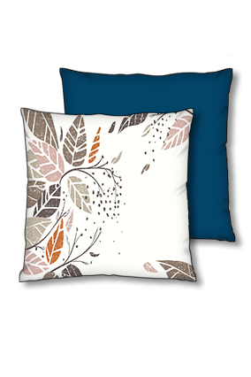 Autum Leaves Polyester Square Navy Blue With Red Piping Cushion