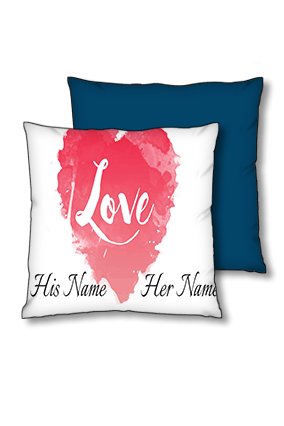 Water Color Heart Background Polyester Square Navy Blue With Red Piping Cushion