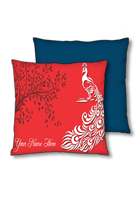 White Peacock with Fade Tree Shadow Polyester Square Navy Blue With Red Piping Cushion