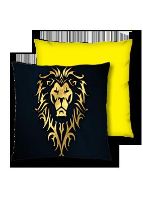 Golden Shiny Lion Velvet Square Yellow Cushion