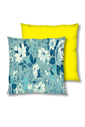 Floral Background Velvet Square Yellow Cushion