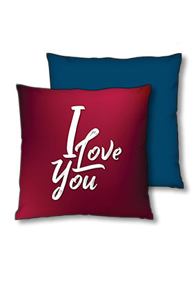Love You Blue Polyester Square Navy Blue With Red Piping Cushion