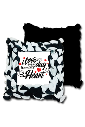 Love You Everyday Black And White Polyester Square Black & White Petal Cushion