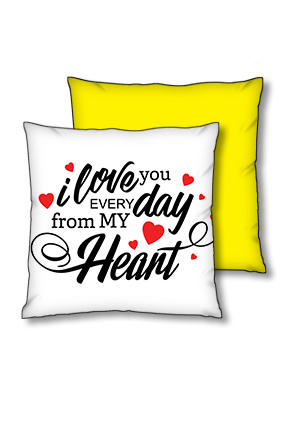 Love From Deep Heart Polyester Square Yellow With Black Piping Cushion