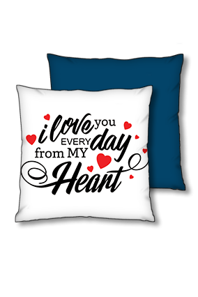 Love You Every Day blue Polyester Square Navy Blue With Red Piping Cushion
