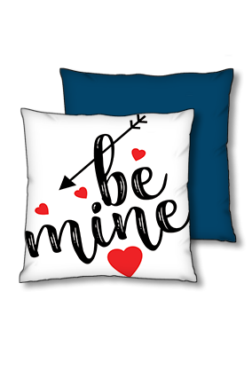 Be Mine Blue Polyester Square Navy Blue With Red Piping Cushion