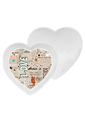 Hugs And Love White Fur Heart Shape White LED Cushion