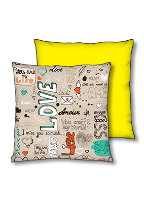 Love And Kiss Polyester Square Yellow With Black Piping Cushion