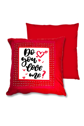 Do You Love Me Red Square Cushion