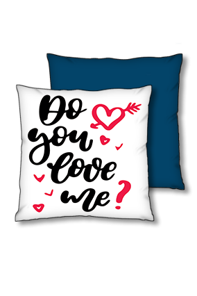 Do You Love Me Blue Polyester Square Navy Blue With Red Piping Cushion
