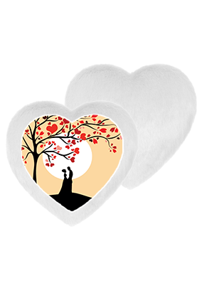 Favorite Couple Goals White Fur Heart Shape White LED Cushion