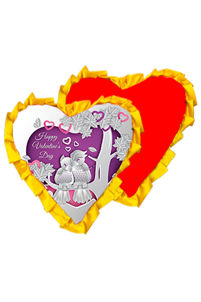 Sweet Silver Love Birds Velvet Heart Shape Red With Yellow Ribbon Cushion