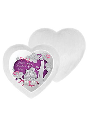 Shiny Love Birds White Fur Heart Shape White LED Cushion