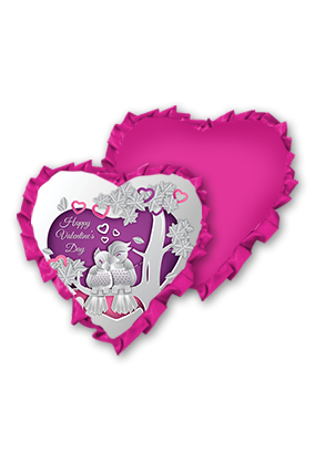Beautiful Love Birds Pink Velvet Heart Shape Pink With Pink Ribbon Cushion