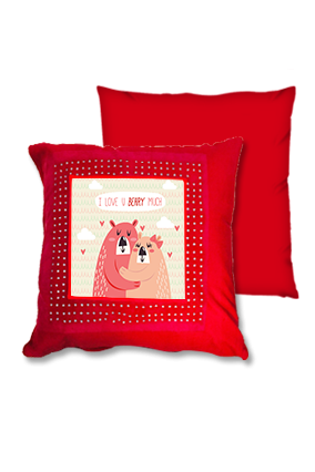 I Love Beary Red Square Cushion