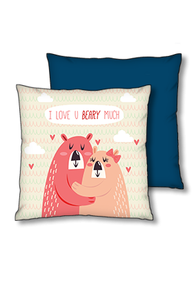 Love You My Beary Blue Polyester Square Navy Blue With Red Piping Cushion