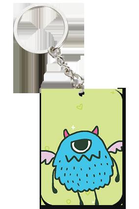Angry Owl Big Rectangle Key Chain